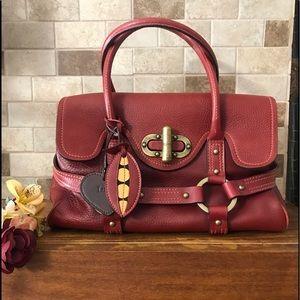 Luella Burgundy Leather Satchel